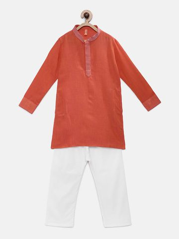 Ethnicity | Ethnicity Orange Cotton Kids Boys Kp Set