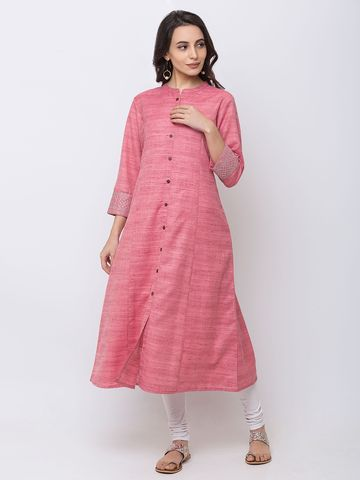 Ethnicity | Ethnicity Powerloom Straight Three-Fourth Women Pink Kurta