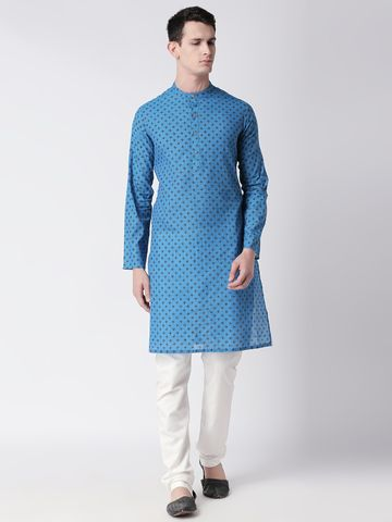 Ethnicity | Ethnicity Teal Cotton Men Kurta