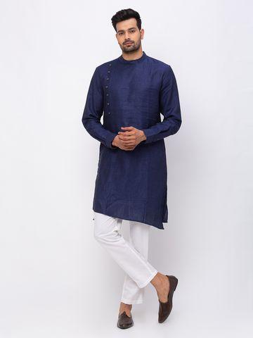 Ethnicity | Ethnicity Linen Asymmteric Full Sleeve Men Navy Kurta