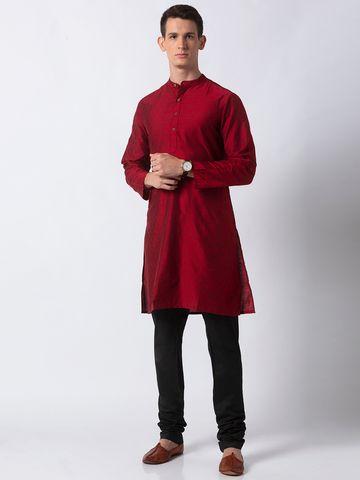 Ethnicity | Ethnicity Red Polystaple Men Kurta
