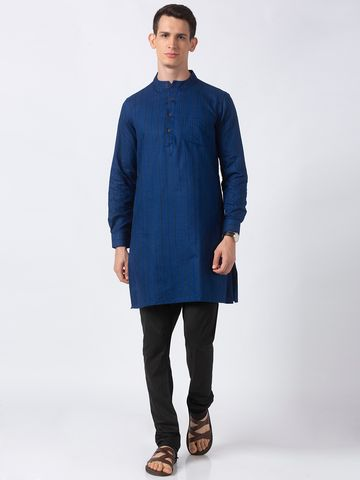 Ethnicity | Ethnicity Navy Polyester Cotton Men Kurta