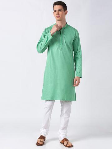 Ethnicity | Ethnicity Pastal Green Polyester Blend Men Kurta