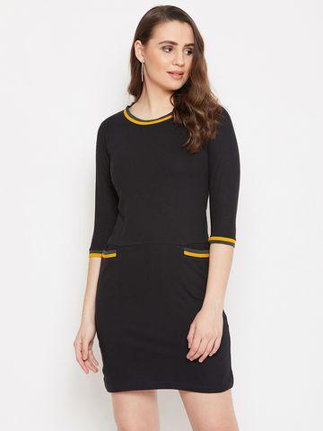 Jhankhi | Black Shift Dress with Front Pockets
