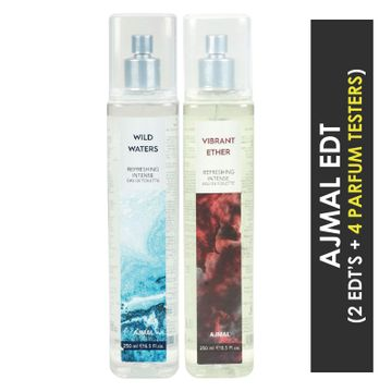 Ajmal | Ajmal Wild Waters EDT & Vibrant Ether EDT  pack of 2 each 250ml (Total 500ML) for Unisex + 4 Parfum Testers