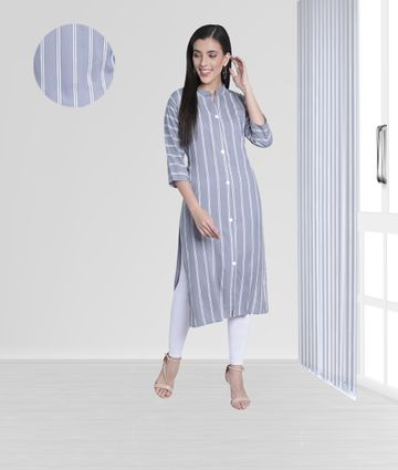Fabclub | Fabclub Women Rayon Striped Straight Kurti (Gray)