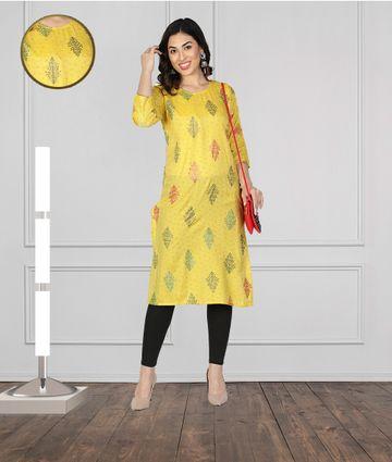 Fabclub | Fabclub Women Muslin Foil Print Stright Designer Kurti (Yellow)