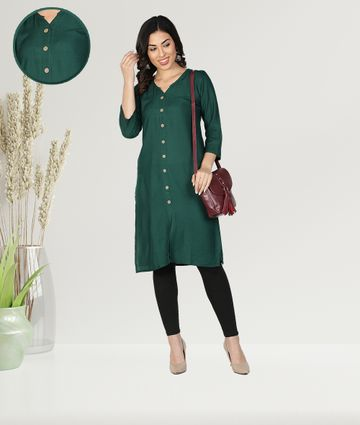 Fabclub | Fabclub Women Rayon Solid Plain Front Slit Straight Kurti (Dark Green)