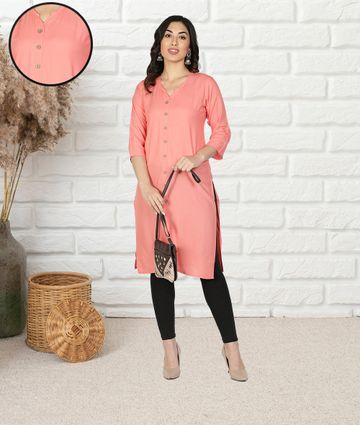 Fabclub | Fabclub Women Rayon Solid Plain Front Slit Straight Kurti (Peach)