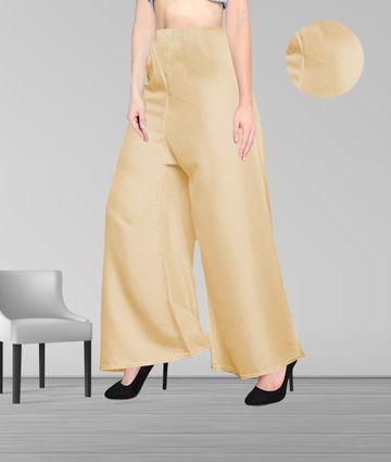 Fabclub | Fabclub Women Heavy Rayon Solid Plain Free Size Palazzo (Beige)