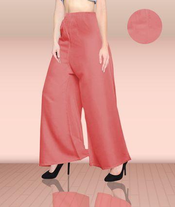 Fabclub | Fabclub Women Heavy Rayon Solid Plain Free Size Palazzo (Peach)