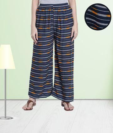 Fabclub | Fabclub Women Heavy Rayon Striped Designer Free Size Palazzo (Navy Blue)