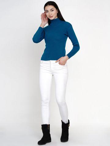 Fabnest | Fabnest Women Winter Turquoise High Neck Sweater