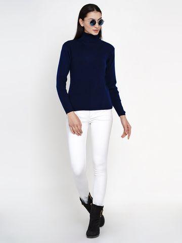 Fabnest | Fabnest Women Winter Navy High Neck Sweater