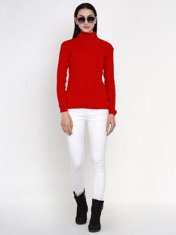 Fabnest | Fabnest Women Winter Red High Neck Sweater