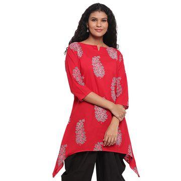 Fabnest | Fabnest Womens Assymetrical Hem Red Printed Cotton Kurta