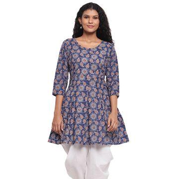 Fabnest | Fabnest Womens Indigo Cotton Printed Peplum Short Kurta