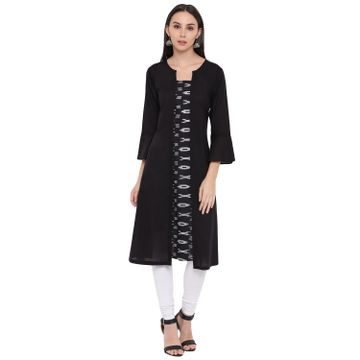 Fabnest | Fabnest womens cotton black Kurt's with an okay front panel