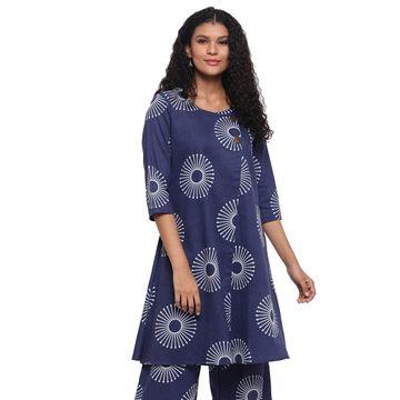 Fabnest | Fabnest Womens Indigo Cotton Printed Aline Kurta