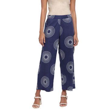 Fabnest | Fabnest Womens Indigo Cotton Printed Straight Pants