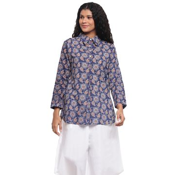 Fabnest | Fabnest Womens Cotton Indigo Printed Collared Tunic