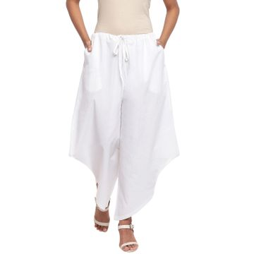 Fabnest | Fabnest Women Assymetrical White Cotton Pant