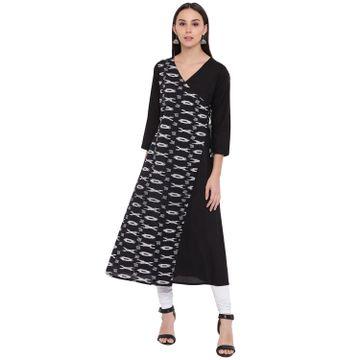 Fabnest   Fabnest womens cotton black solid and ikkat angarkha kurta