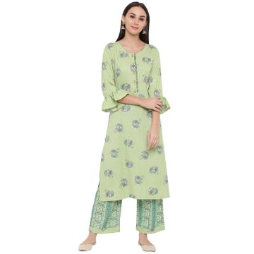 Fabnest | Fabnest womens rayon lime green printed kurta and pant set. with flounce sleeve and button detailing at the neck