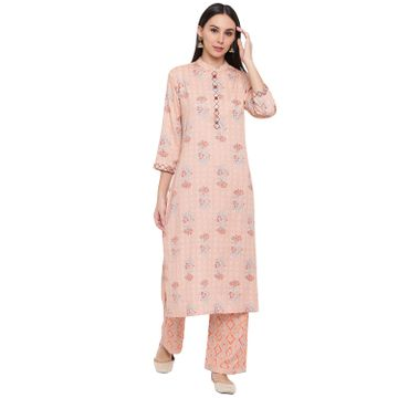 Fabnest | Fabnest women rayon peach printed kurta and pant set with thread detailing on placket and cuff.