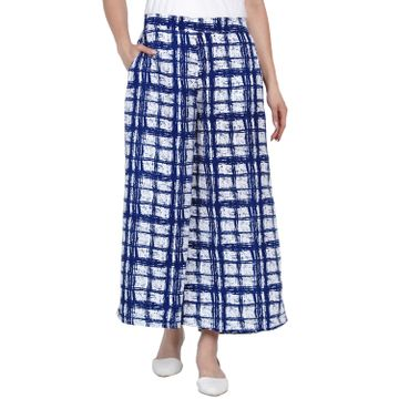 Fabnest | Fabnest Womens Crepe Blue And White Abstract Print Flared Relaxed Pants