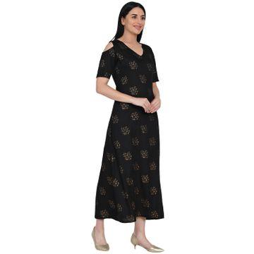 Fabnest   Fabnest Womens Black Rayon Cold Shoulder Dress With Foil Print