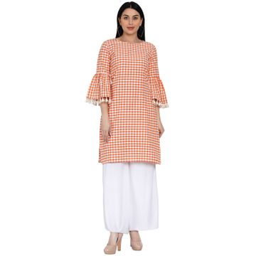 Fabnest | Fabnest Womens Cotton Orange And White Check Kurta With Flounce Sleeve And Tassles