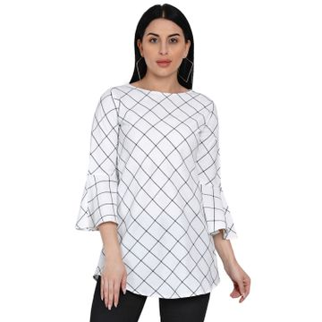 Fabnest | Fabnest Womens Windowpane Black And White Handloom Cotton Tunic With Flounce Sleeves