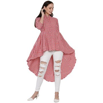 Fabnest | Fabnest Womens Handloom Cotton Red And White Check Assymterical Hem Long Tunic