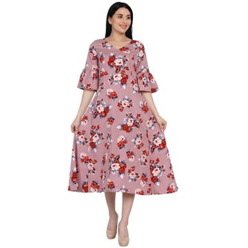Fabnest | Fabnest Womens Floral Print A Line Dress With Flounced Sleeves