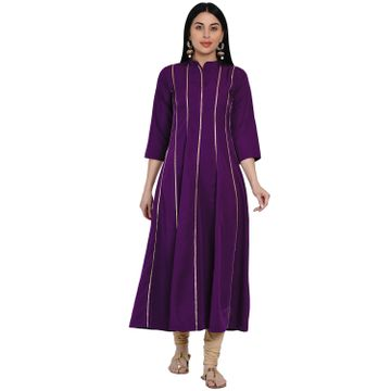 Fabnest | Fabnest Womens Purple Crepe Anarkali Kurta With Gota Inserts