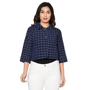 Fabnest | Fabnest Womens cotton handloom cropped jacket with back tab in navy and white window pane check