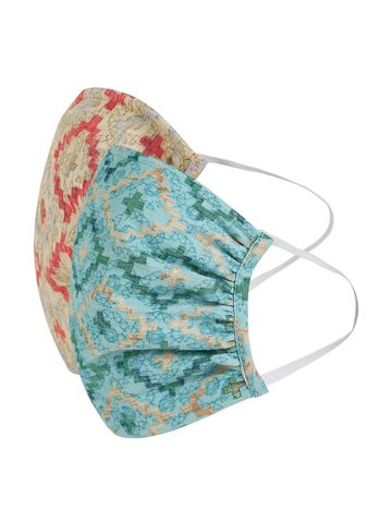 Fabnest | Fabnest Womens Beige And Blue Printed Face Masks Pack Of 2