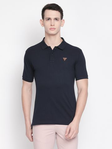 FITZ | Navy Blue Solid Polo Tshirt