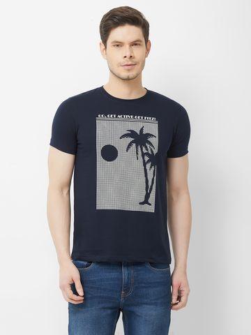 FITZ   Navy Blue Printed Polo Tshirt