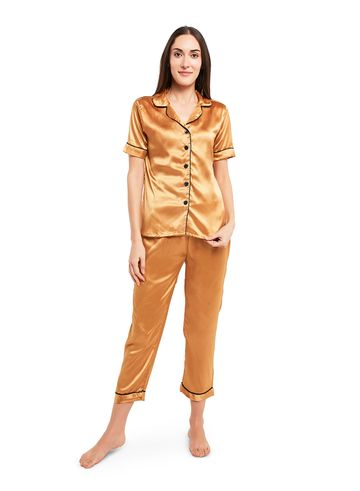 Smarty Pants   Silk satin solid gold color night suit