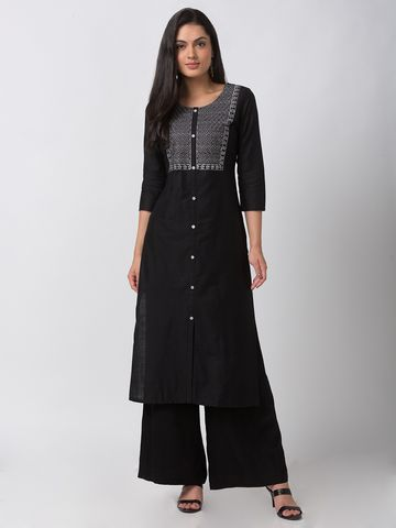 Ethnicity | Ethnicity Charcoal Blue Cotton Silk Women Kurta