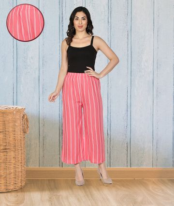 Fabclub | Fabclub Women Rayon Striped Free Size Palazzo (Pink)