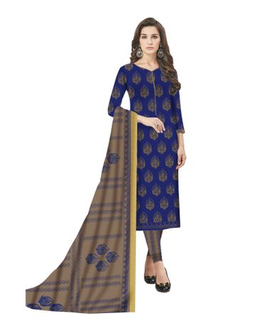 GF's | GF's Beautiful Soft Cotton Block Printed Unstitched Salwar Suit Dress Materials for Women with 2.40 mtr Top