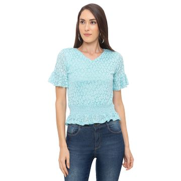 globus | Globus Blue Self Design Top