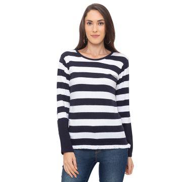 globus | Globus Navy Blue Striped Top