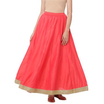 globus   Globus Pink Poly Brocade Solid Skirt