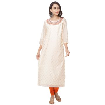 globus | Globus White Embroidered Kurta