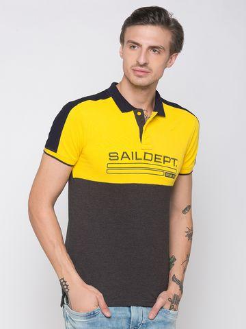 globus | Globus Mustard Colourblocked Polo T-Shirt