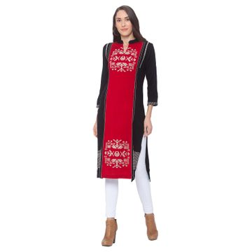 globus | Globus Red Abstract Kurta